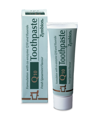 A tube of Zymbion Q10 toothpaste
