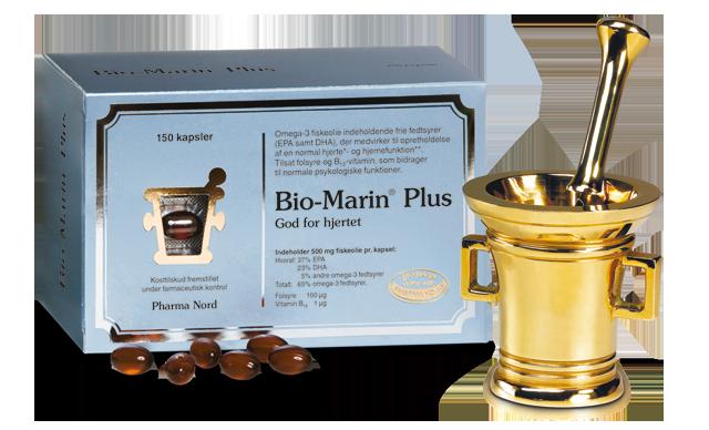 Æske med 150 kapsler Bio-Marin Plus á 500 mg koncentreret fiskeolie med B-vitaminer