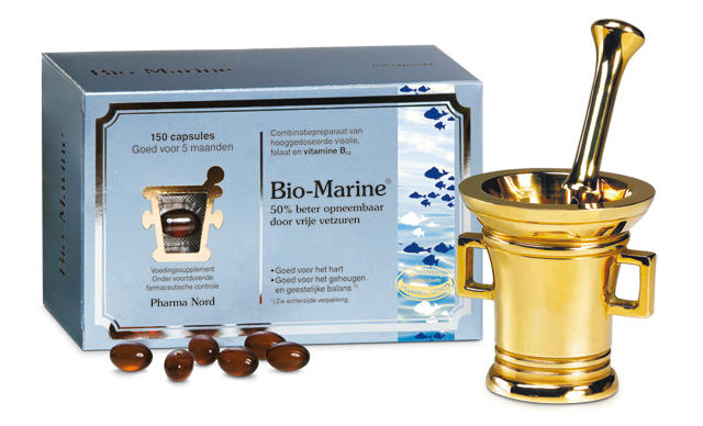 Box with Bio-Marine Plus capsules containing 500 mg of pure concentrated fish oil and two B vitamins