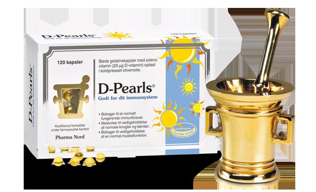 Æske med 120 D-Perls á 20 mikrogram D3-vitamin opløst i koldpresset olivenolie